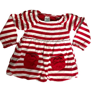 Nursery Rhyme Red and White Infant Dress Pockets